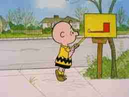 charlie brown looking in his mailbox